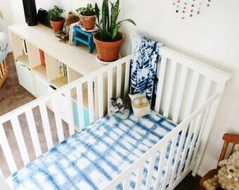 SALE // shibori dyed fitted crib sheet// nursery // boho baby