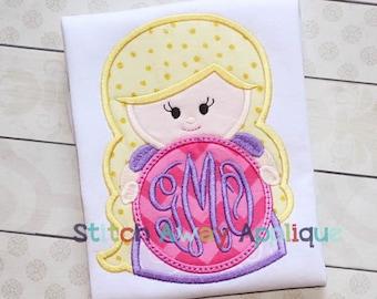 Long Hair Princess Monogram Circle Machine Applique Design