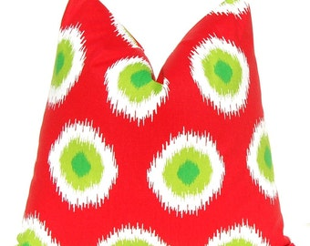 Christmas Pillow Covers - Red Pillows - Red and Green - Holiday Pillows - 16 x 16 -  Cushion Covers - Holiday Decor - Green Pillows