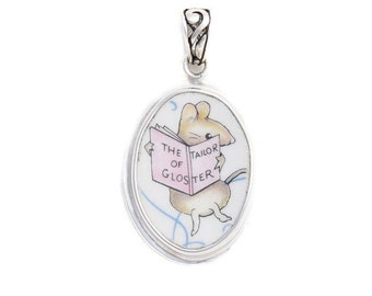 Broken China Beatrix Potter The Tailor Of Gloster Mouse Oval Sterling Pendant