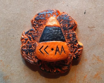 Candy Corn Apocalypse Army Magnet -- Halloween Blow Mold Style -- Black / Black Back