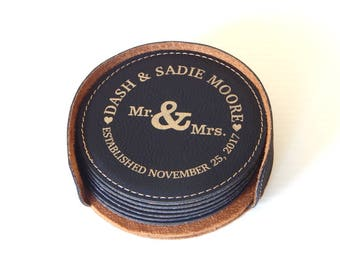 Wedding Gifts for Couple - Gift for Anniversary - Personalized Coaster Set of 6 - Gifts for Couples, CAS016