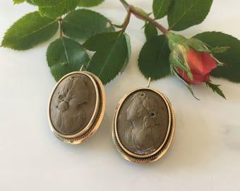 Vintage 10K Lava Cameo Earrings