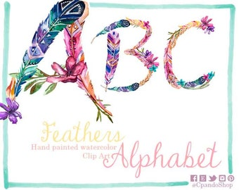 Watercolor alphabet clipart with flowers, digital letters, floral alphabet, feather watercolor letters clipart, download