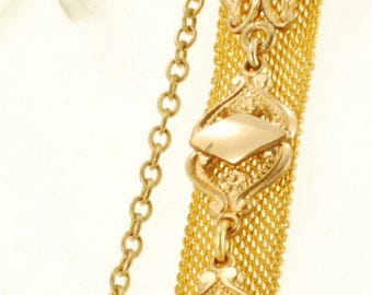 "Vintage 4"" yellow gold (filled) mesh ribbon-style pocket watch chain with matching filigree stamp fob"