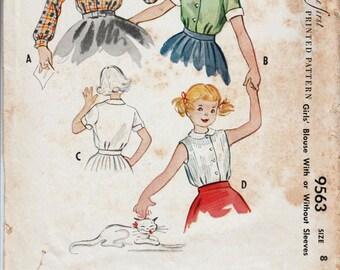 Vintage Girls Blouse Pattern McCALLS 9563 Girls Size 8 Blouse 1950s Blouse Peter Pan Collar Girls Retro Blouse 50s Blouse Pattern