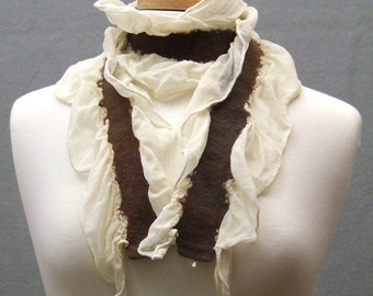 Nuno Felted Scarf Ruffled Ivory Silk Chiffon w Chestnut Brown Merino Wool Made to Order