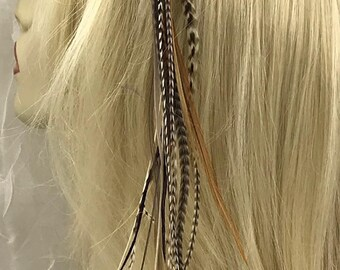 Dangling Grizzly Feather Hair Clip, Feather Hair Extension, Long Tribal Hair Accessory, Festival Wear, Hair Clip, Feather Hair Clip