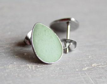 mint green concrete tear drop earrings, concrete jewelry, cement jewelry, cement earrings, minimalist jewelry, unique gift, mothers day