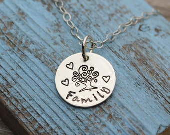 """Family Tree Charm Necklace with Hearts, Sterling Silver (5/8"""")"""