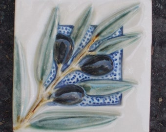 Black Olive Branch Tile