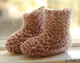 Knitted Baby Booties- Pink Cotton/Wool blend