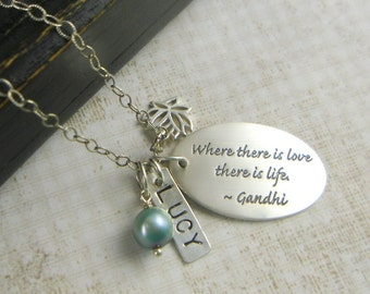 Quote Necklace, Gandhi Quote, Inspirational Necklace, Personalized Necklace, Gandhi Necklace, Silver Necklace