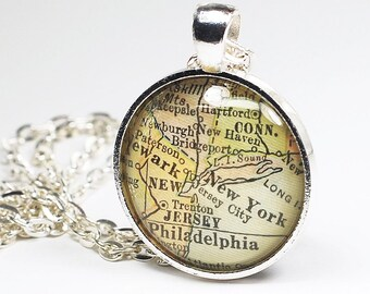 New York Map Necklace- New York Map Pendant, Philadelphia Map Necklace, Vintage Map Pendant Jewelry from a 1929 Map, New Jersey Map Necklace