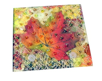 Silk leaf patchwork beaded fabric art card - 5.5 inches square art quilt greeting card - Handmade autumn needlework art card