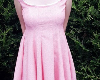 Wedding guest dress, Bridesmaid dress, Summer dress, Skater dress, Sleeveless dress, Dress, 50s dress, Party dress, Pink dress, Prom dress