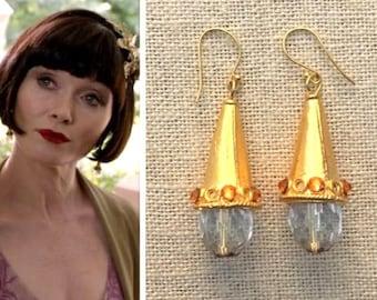 Phryne Fisher Gold Cone Clear Faceted Crystal Teardrop Topaz Orange Art Deco Earrings