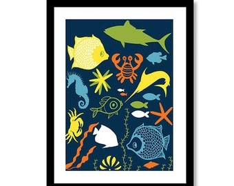 Sea World Nursery Decor Nautical Nursery Print Nautical Nursery Art Gender Neutral Decor colors can be changed are per your choice