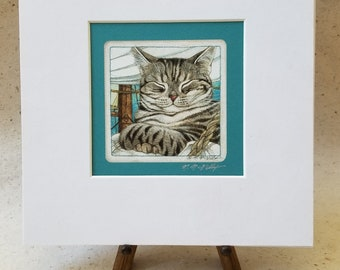 Gray Tabby Cat Signed Giclee' Matted Print