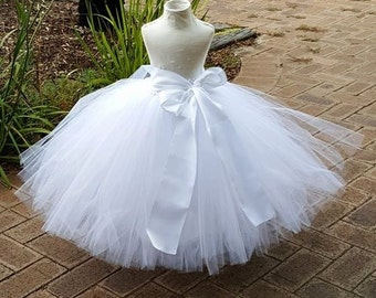 White Full Length Tutu Skirt Flower girl Tutu with Big bow