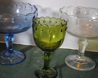 Lot of Two Teardrop Compotes, Clear and Blue, and Green Glass Water Goblet
