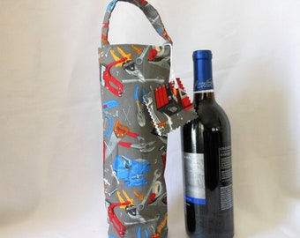 wine tote with construction tools theme, tool guys birthday gift bag for him or her, single wine bottle holder, environmentally safe