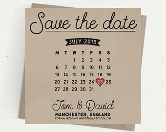 Kraft Card (recycled/eco/craft) Calendar Save the Dates / Invitations