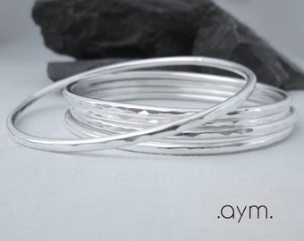 sterling silver bangle bracelet, skinny hammered stacking bangle, silver modern minimalist thin everyday bracelet gift for her free shipping