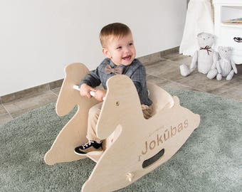 Personalized wooden rocking horse, wooden horse, wooden animal toys, baby shower gift, 1st birthday gift, wooden toys, vintage horse