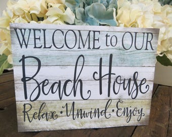 """Wood Beach Sign, """"Welcome to Our Beach House"""", Beach House Decor, Beach Lover Welcome Sign"""