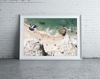 People on the beach. Fine Art Photography Gallery. Portugal beach (Nazaré), Europe.Summer. People on the beach. Art, home decor.