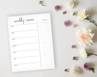 Pretty Menu Planner - Black Daily Menu Planner Sheet - Grocery List Planner - Dinner Menu Planner - Weekly Meal Prep - Instant Download