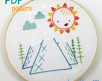 Mountains. Hand Embroidery Pattern. Sunshine. Forest. Woodland. Woods. Camping. Hiking. Outdoors. Embroidery Design. Digital Pattern. PDF