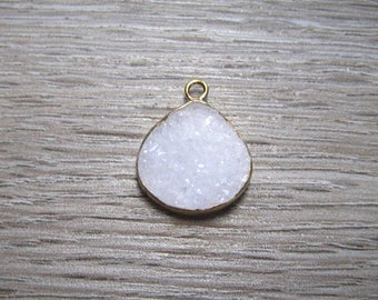 White Druzy Charm Pendant Edged In 24 K Gold, 16 MM Quality Made Drop Pendant