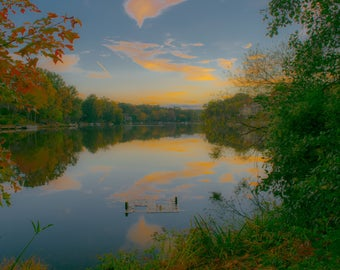 Fall Sunset Over a Lake