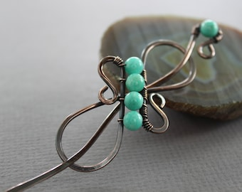 Celtic knot infinity shawl pin or hair pin with Russian amazonite stones - Scarf pin - Hair barrette - Hair slide - SP016