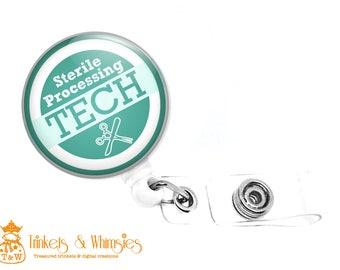 Sterile Processing Tech Scrubs GREEN Retractable Badge Holder