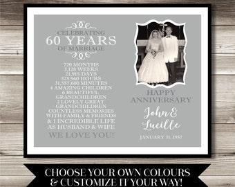 60 Year Anniversary Photo Gift; Digital print; 60th Anniversary; present; gift; Personalized; milestone; keepsake gift; diamond anniversary