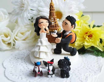 Custom Wedding Cake Topper- Propose scene in Paris