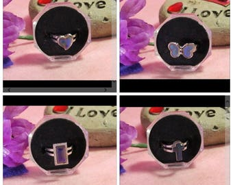 Adjustable Butterfly Mood rings Heart Mood Ring Rectangular Mood Ring Cross Mood Ring minimum Size 6+Lets Bring these back, Kids Love Them