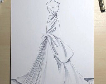 Bridal Illustration-Monique Lhuillier Gown Illustration
