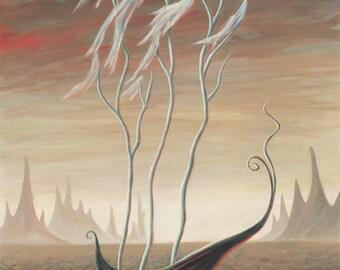 THE GHOST SEA Fine Art Print, Glicée, A3 Size, Acrylic Painting, Surrealism, Surreal Tree, Dark Art, Lowbrow