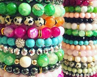 4 piece natural gemstone bracelet stack
