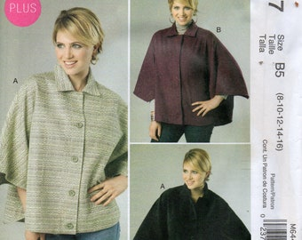 30 Minutes to Sew by NANCY ZIEMAN for McCall's Pattern 6447 CAPES Misses Sizes 8 10 12 14 16