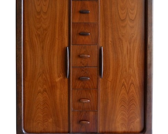 Dyrlund Highboy Hiboy Dresser of Rosewood from Denmark, Tambor Doors, circa 1970