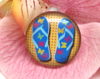 1 cabochon 25 mm glass flip flops Beach 4-25 mm
