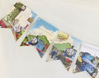 Thomas the Train King of the Railway Upcycled Story Book Pages Bunting Pennants Nursery Decor Baby Shower Birthday Party Garland Flags