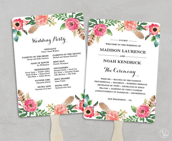 Printable Wedding Program Fan Template Fan Wedding Programs - 5x7 wedding program template