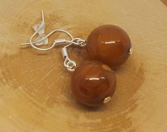 Chocolate amber earrings.Baltic amber.Natural stone earrings.Baltic amber