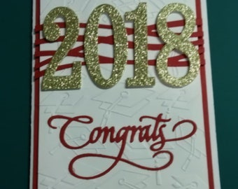 Red and White or Blue and White Graduation cards
